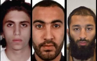 The attackers in London Bridge terror attack in June 2017. From left to right: Youssef Zaghba, Rachid Redouane and Khuram Butt (London Metropolitan Police)