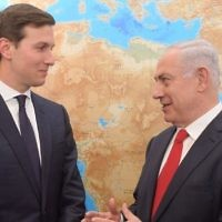 US President Donald Trump's son-in-law and chief Middle East adviser, Jared Kushner left, meets with Prime Minister Benjamin Netanyahu at his office in Jerusalem on June 21, 2017. (Amos Ben Gershom)