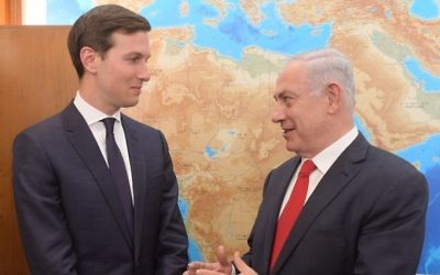 US President Donald Trump's son-in-law and chief Middle East adviser, Jared Kushner left, meets with Prime Minister Benjamin Netanyahu at his office in Jerusalem on June 21, 2017. (Amos Ben Gershom/GPO)