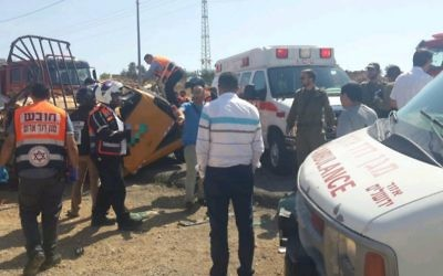 The scene of a deadly crash on Route 60 near the West Bank settlement of Ofra, June 27, 2017. (Courtesy MDA)