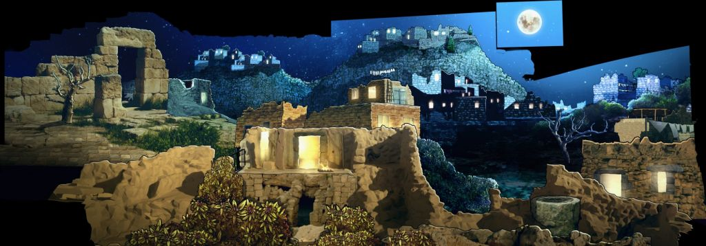 A screenshot from the new 'Hallelujah' night-time attraction at the City of David in Jerusalem. (courtesy AVS)