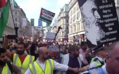 Screen capture from video of the Al-Quds march in London, June 18, 2017. (YouTube/Richard Millett)