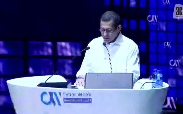 Shin Bet head Nadav Argaman speaks at Cyber Week in Tel Aviv on June 27, 2017. (Screen capture: NRG)