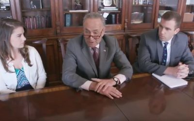 Senate minority leader Chuck Schumer parodies President Donald Trump's cabinet meeting, June 12, 2017 (YouTube screenshot)