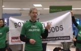 Illustrative image of activists in London protest in Waitrose supermarket calling for boycott of Israel. (Screen capture: YouTube)