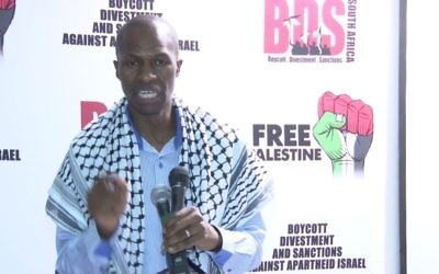 Bongani Masuku speaking at a BDS South Africa event in December, 2016. (Screen capture: YouTube)