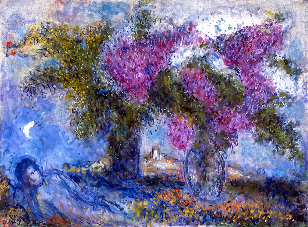 'Bouquet of Lilacs at Saint-Paul' by Marc Chagall, on display publicly for the first time at 'Marc Chagall, Flowers, and the French Riviera: The Color of Dreams.' (© 2017 Artists Rights Society (ARS), New York/ADAGP, Paris)