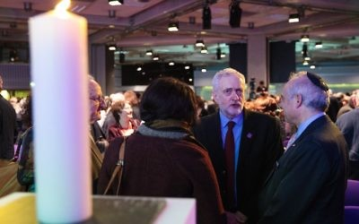 Illustrative: Labour Leader Jeremy Corbyn, second from right, speaks with guests during a National Holocaust Memorial Day event at the Queen Elizabeth II Conference Centre on January 26, 2017 in London, England. (Jack Taylor/Getty Images)