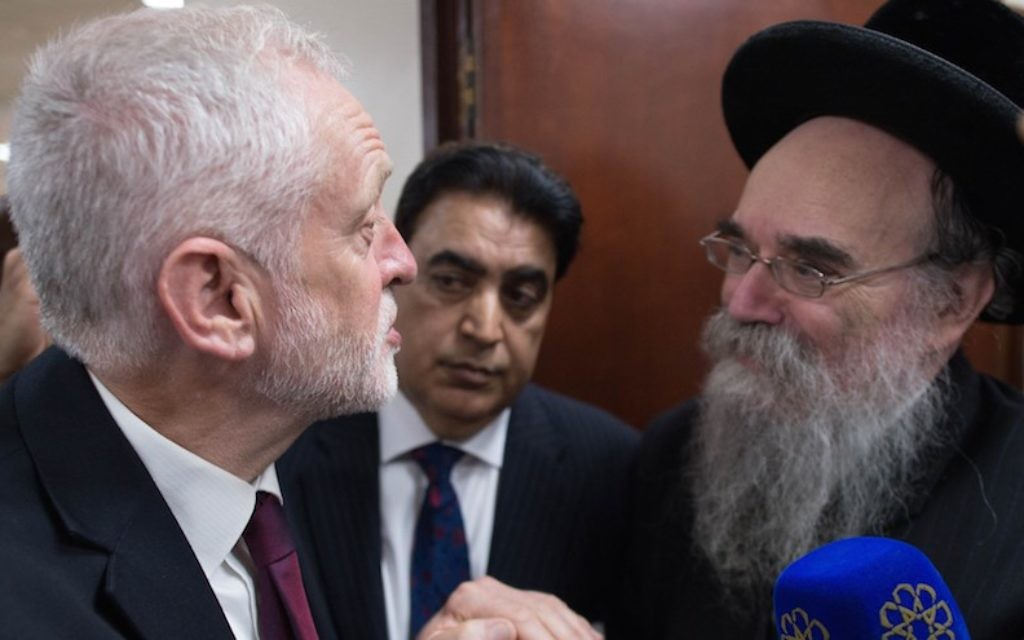 Labour leader Jeremy Corbyn talks to faith leaders at Finsbury Park Mosque on June 19, 2017 in London, England.  (Stefan Rousseau/WPA Pool/Getty Images via JTA)