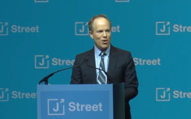 Dan Kohl addressing the annual J Street Gala Dinner, February 7, 2017. (Screen capture: YouTube)