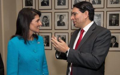 US Ambassador to the UN Nikky Haley talks with Israel's Ambassador to the UN Danny Danon at an undated event. (Shahar Azran)