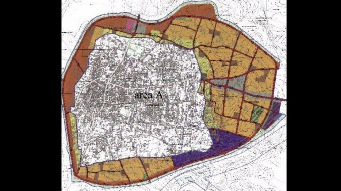 A map of the Palestinian city of Qalqilya. The colored area represents reported plans for expansion (Courtesy of Samaria Regional Council)