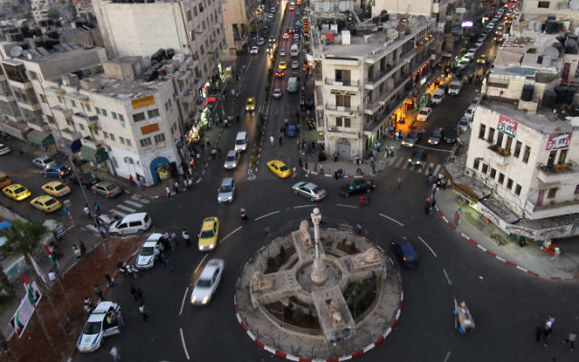 View from above the Manara Square in the center of the West Bank city of Ramallah, September 11, 2011. (Nati Shohat/FLASH90)