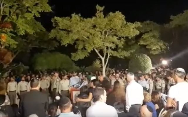 A funeral service for Hadas Malka in Ashdod on June 18, 2017. (screen capture: YouTube)