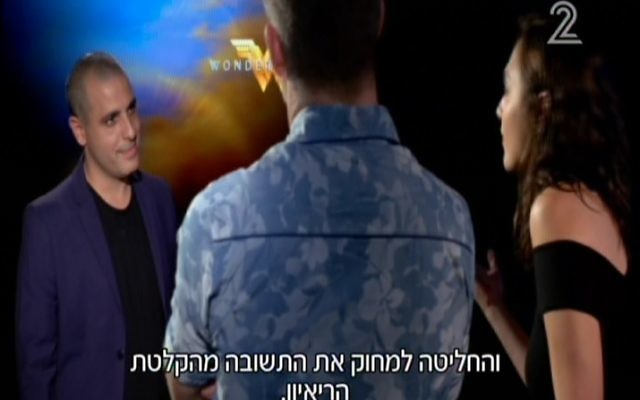 Israeli actress Gal Gadot , right, in an interview with Channel 2 that it decided not to air after a section was censored by the production company behind Wonder Woman (Screen capture/ Channel 2)