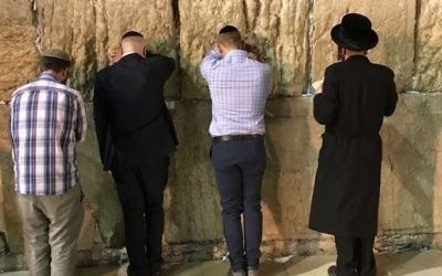 US special envoy Jason Greenblatt visits the Western Wall on June 20, 2017. (Jason Greenblatt/Twitter)