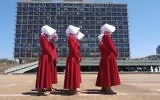 Handmaids in Tel Aviv, June 22, 2017. (Courtesy of HOT)