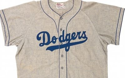 The jersey from Sandy Koufax's first season in 1955. (Lelands, via JTA)