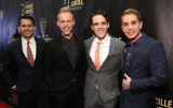 Some of the talent behind 'Dear Evan Hansen,' from left: Lyricists Benj Pasek and Justin Paul, writer Steven Levinson and lead actor Ben Platt at the NYU Skirball Center, May 7, 2017. (Monica Schipper/Getty Images for Lucille Lortel Awards/JTA)