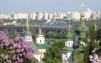 The city of Kiev, Ukraine, seen from the Vydubychi Monastery. (CC BY-SA 3.0 I, Levchuk Volodymyr/Wikimedia Commons)