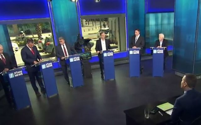 A still from the Labor primaries debate hosted by Walla news on June 4, 2017 (screen capture: Walla news)
