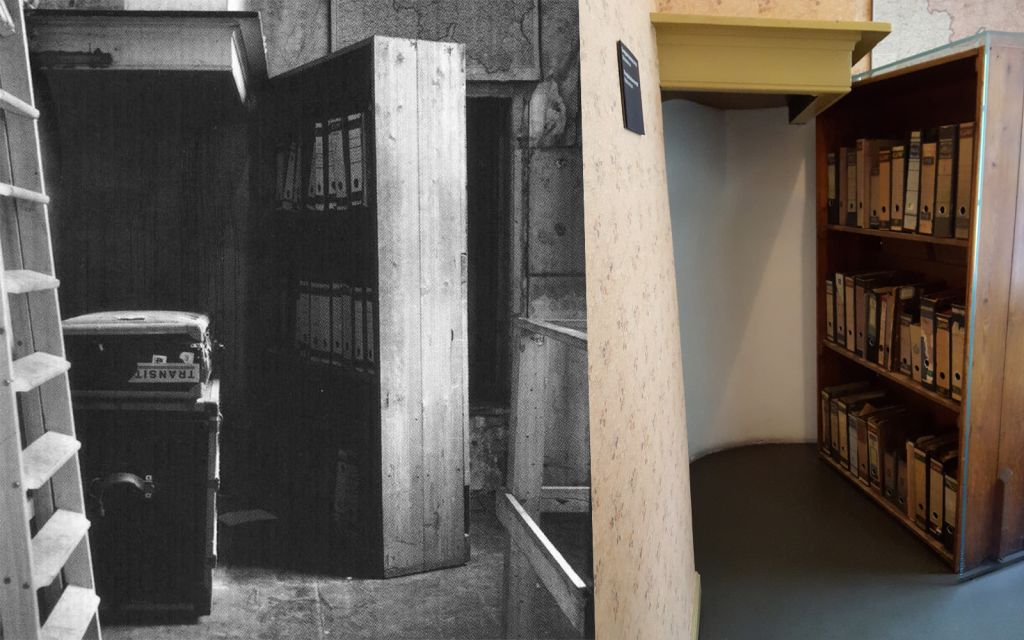 The swinging bookcase (1950s, left) in the Anne Frank House of Amsterdam, the Netherlands, behind which Anne Frank and seven other Jews hid from the Nazis (Matt Lebovic/The Times of Israel)