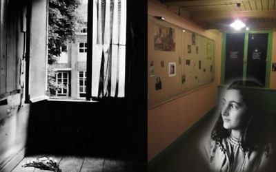 Anne Frank's hiding place bedroom during the 1950s (left) and her restored bedroom at the Anne Frank House in Amsterdam today (Matt Lebovic/The Times of Israel)