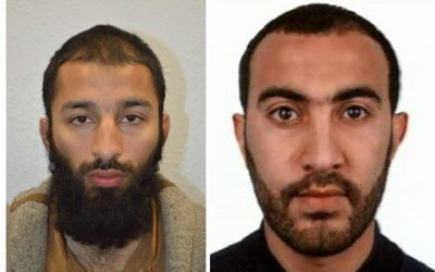 A police photo released on June 5, 2017 of Khuram Shazad Butt (left) and Rachid Redouane (right), two of the three terrorists believed to be behind the car-ramming and stabbing attack in London. (Metropolitan Police)