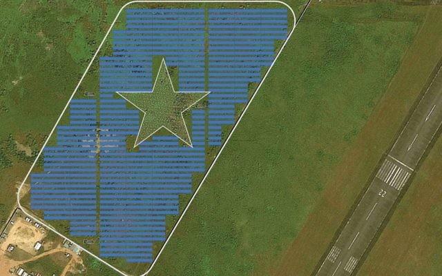 A mockup of the proposed Energiya Global 10 megawatt solar field near Roberts International Airport in Monrovia, Liberia. The field includes a star in honor of the Liberian flag. (courtesy Energiya Global)