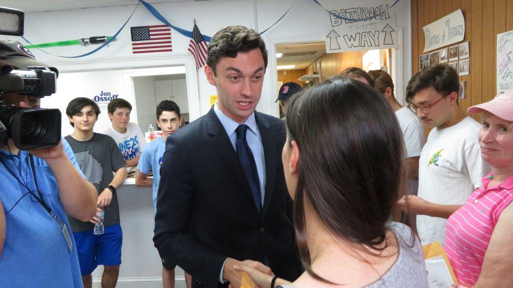Jon Ossoff campaigning in Chamblee, Georgia, June 15, 2017. (Ron Kampeas/JTA)