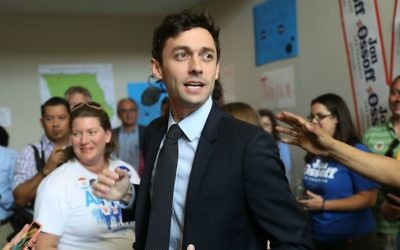 Jon Ossoff speaking to volunteers and supporters at a campaign office in Marietta, Georgia, April 18, 2017. (Joe Raedle/Getty Images/via JTA)