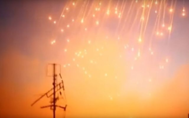 A screen capture from a video alleging to show the use of white phosphorous in Raqqa, uploaded on June 8, 2017. (screen capture: YouTube)