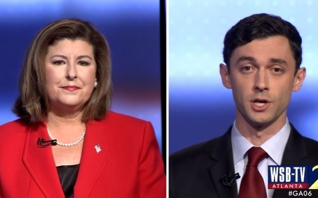 Candidates in Georgia's special congressional election Karen Handel (R) and Jon Ossof (D) participate in a debate (YouTube screenshot)