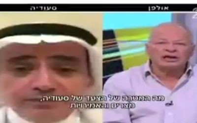 Channel 2 Arab Affairs correspondent Ehud Yaari in Israel interviews Saudi Arabian Abed al-Hamid Hakim speaking from Jeddah, June 5, 2017. (Screen capture: Twitter)