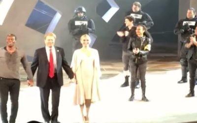 Actors in the Central Park production of Julius Caesar, June 2017 (YouTube screenshot)