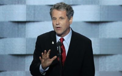 US Senator Sherrod Brown (D-OH) delivers remarks on the fourth day of the Democratic National Convention at the Wells Fargo Center, July 28, 2016 in Philadelphia, Pennsylvania. (Photo by Alex Wong/Getty Images via JTA)