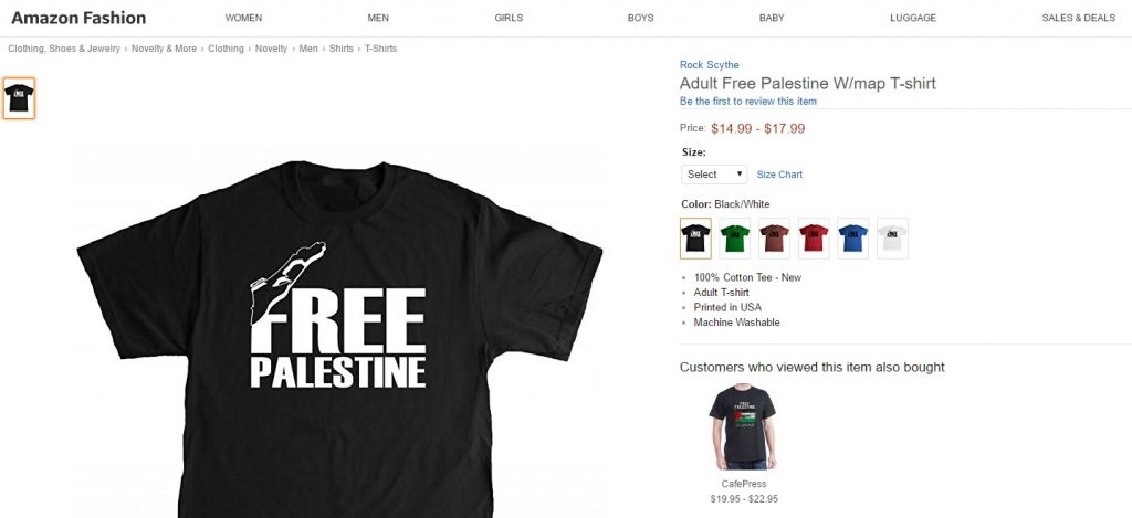 Amazon selling \'Free Palestine\' clothes, after Sears and ...