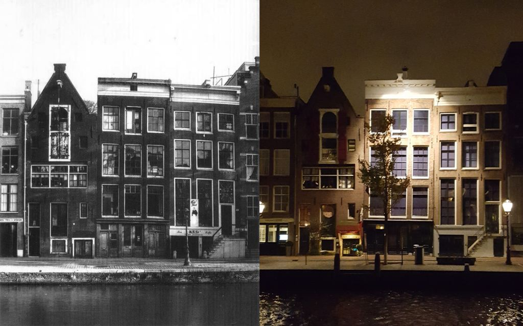 The canal-side building at Prinsengracht 263 in Amsterdam (1950s, left) in whose annex Anne Frank and seven other Jews hid during the Nazi occupation (Matt Lebovic/The Times of Israel)