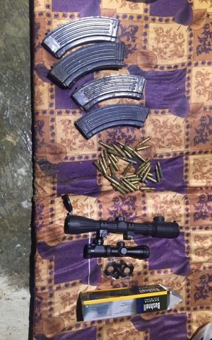 Bullets, ammunition magazines and sniper scopes found by IDF troops during a raid of a house in the northern West Bank village of Asira ash-Shamaliya on June 5, 2017. (IDF Spokesperson's Unit)