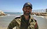 Maj. Omri Levy standing at the Navy Training Base in Haifa, Israel, June 11, 2017. (Andrew Tobin/JTA)
