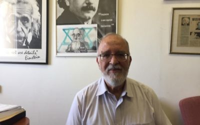 Prof. Isaac Ben-Israel at his Tel Aviv University office, June 19, 2017 (DH / ToI staff)
