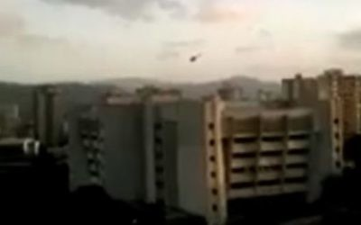 Screen capture from video showing a helicopter dropping grenades on Venezuela's Supreme Court, June 27, 2017. (YouTube/DAHBOO777)