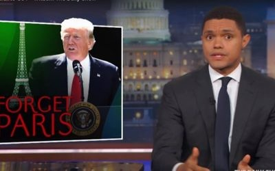 Trevor Noah delivers a segment on US President Donald Trump's pulling out of the Paris Agreement on climate change. (Screen capture YouTube)