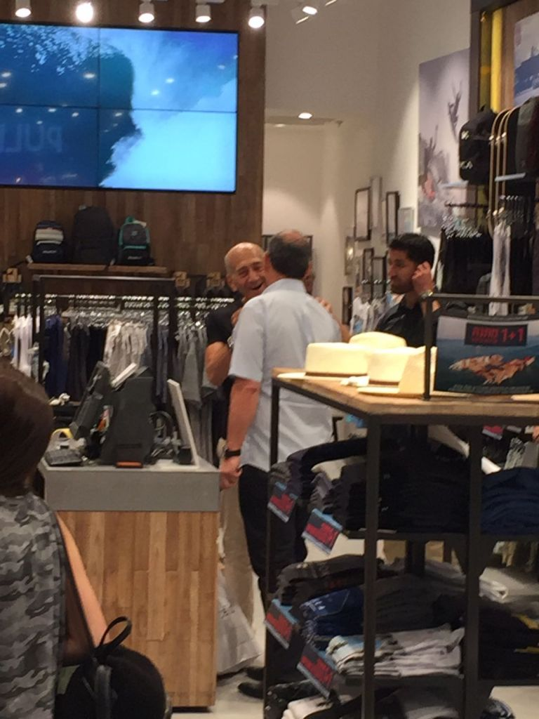 Former Prime Minister Ehud Olmert L Is Seen Ping At Tlv Fashion Mall In