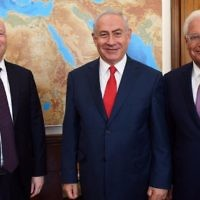 L-R: US President Donald Trump's envoy to the Middle East Jason Greenblatt, Prime Minister Benjamin Netanyahu and US Ambassador to Israel David Friedman, at the Prime Minister's Office in Jerusalem on July 12, 2017. (Haim Tzach/GPO/File)
