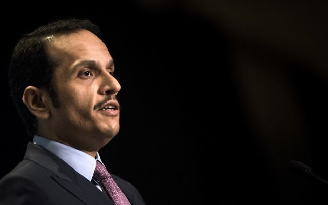 Qatar's Foreign Minister Mohammed bin Abdulrahman al-Thani speaks during a luncheon hosted by the Arab Center of Washington, DC on June 29, 2017. (AFP Photo/Brendan Smialowski)