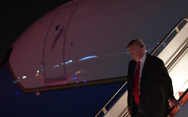US President Donald Trump steps off Air Force One upon arrival at Morristown Municipal Airport in Morristown, New Jersey on July 1, 2017. (AFP/MANDEL NGAN)
