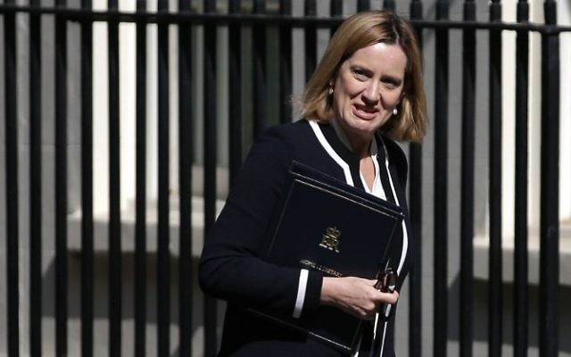 Britain's Home Secretary Amber Rudd arrives for a Cabinet meeting at 10 Downing Street in central London, July 4, 2017. (AFP/Daniel Leal-Olivas)