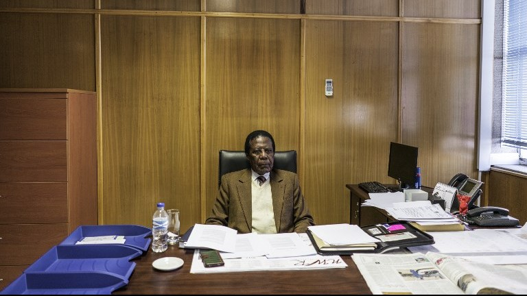 Namibian government special envoy and chief negotiator Zed Ngavirue seen at his office in the Namibian foreign affairs building on June 20, 2017, in Windhoek, Namibia. (AFP Photo/Gianluigi Guercia)