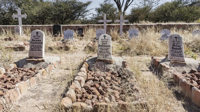 A picture taken on June 22, 2017, shows the graves of German soldiers who died in the Battle of Waterberg against the Herero forces, on the Waterberg Plateau, Namibia. (AFP Photo/Gianluigi Guercia)